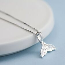 925 Sterling Silver Whale Tail Fish Nautical Charm Mermaid Tail Silver Necklace