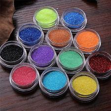 12pcs Shiny Colors Glitter Dust Powder Set for Nail Art Acrylic Tips Decorations