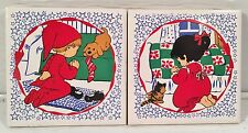 2 JASCO Ceramic Tile Trivets Boy & Girl Praying