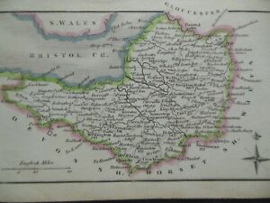 Small Georgian County Map of Somersetshire (c1820) Hand Coloured, Somerset