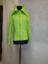 JOSEPH RIBKOFF LIME GREEN STRETCH FRONT ZIP FITTED WIDE COLLAR JACKET-SIZE UK 10