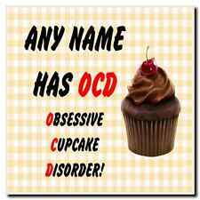 Funny Obsessive Disorder Cupcake Yellow Personalised Drinks Mat Coaster