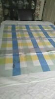 """Vintage Linen Tablecloth Game Card Table White w/ Blue, Yellow, Green 50"""" Square"""