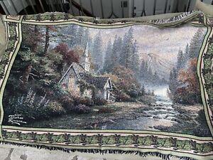 "Thomas Kinkade Tapestry Throw Blanket ""The Forest Chapel"" 65x43 Church Mountain"