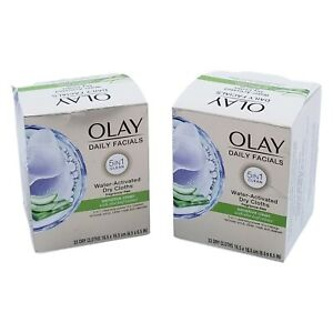 2X Olay Daily Facial 5in1 Sensitive Clean Water Activated Dry Cloths 33 Ct each