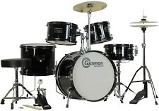Black Junior Drum Set with Cymbals Stands Stool Childrens Kids Complete Kit