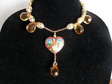 Citrine Pear Shape Crystal Cloisonne Heart Gold Cloisonne Necklace