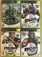 Lot Of 4 Xbox 360 Halo Combat Madden 2003, NCAA Football 2005 NCAA Football 2003