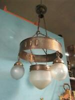 Deckenlampe Jugendstil Orginal Messing Glasschirm Hängelampe Antik Verziert 42b1