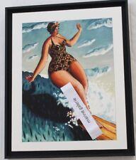 Tableau surf décoration cadre noir moderne marine surfeuse fabr. Bretagne Neuf
