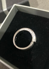 Brand New ESPRIT Brushed Sterling Silver Ring With Cubic Zirconia Stones Size 8