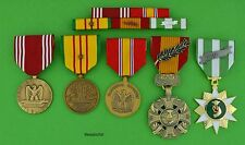 U.S. ARMY VIETNAM WAR 5 MEDALS and MOUNTED 5 RIBBON BAR  - USA - 1 Campaign Star