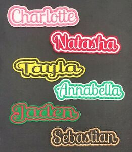 Personalised Embroidered Name Patch Badge C1 Iron on sew on