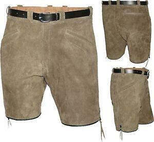 kurze sportliche Lederhose Bermuda Shorts Gürtel in naturgrau Made in Germany