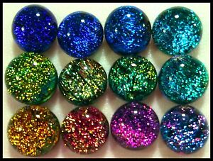 Lot of 12 SPLASH ASSORTED PETITE Fused Glass DICHROIC Cabochons NO HOLE Beads
