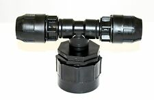 """IBC Adaptador (2 """" - s60-60mm) a 2x 20mm compresión accesorios de tubería MdPE Agua"""