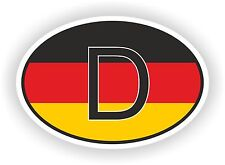 D GERMANY COUNTRY CODE OVAL WITH GERMAN FLAG STICKER bumper decal car helmet