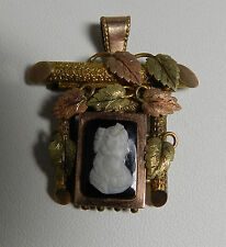 Antique Victorian Hardstone GF Cameo Pendant Hair Locket  with Leaves
