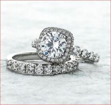 Ring Bridal Set 925 Sterling Silver 2Ct Brilliant Cut Moissanite Halo Engagement