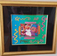 Peter Max Original Flower Blossom Lady Collage Signed COA Acrylic Painting