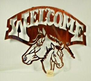 "Lazart - Horse Welcome Sign - 20"" Metal Decorative Laser Cut Wall Art - Rustic"