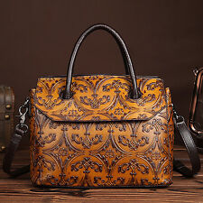 Women's Genuine Leather Embossed Hobo Messenger Shoulder Travel Bag Tote Handbag