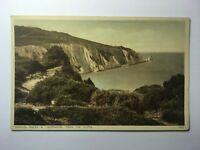 Needles Rocks and Lighthouse From The Cliffs - Antique Postcard - Unposted