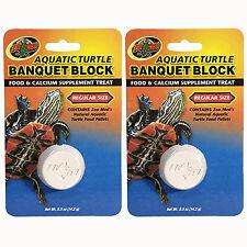 Zoo Med Aquatic Turtle Banquet Block Food and Calcium Supp Treat Regular 2 Pack