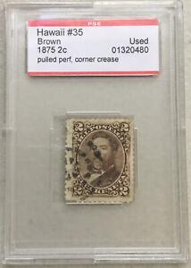 Hawaii 1875~2 Cents Brown~King David Kalakaua SC# 35 Used PSE capsul 01320480