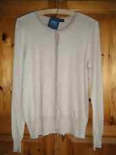 NEW M&S OATMEAL BOBBLE BUTTON CREW NECK SIZE 14 CARDIGAN LONG SLEEVE RRP £18