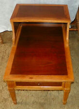Mid Century Walnut and Pecan Step End Side Table / End Table by Drexel (T598)