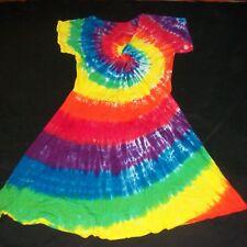 Tie Dye Woman's Twist Front Dress 2XL Rainbow Spiral Hand Tye Dyed Hippie XXL 2X