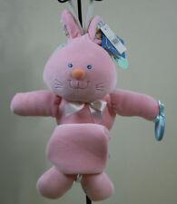 New Bunny Rabbit Plush Musical Crib Pull Toy  Mirror & Teething Ring  First Peek