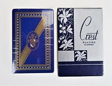 Crest Blue Deck Playing Cards 10 Cent Tax Stamp Vtg Sealed Shield Heraldry