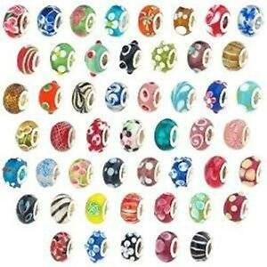 20 Pc Lot Lampwork Murano Glass European Mix Beads For Snake Chain Charm Bracele