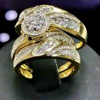 2Ct His & Her Diamond Wedding 14K Yellow Gold GP Trio Bridal Engagement Ring Set