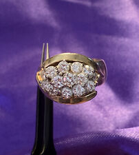 14K GOLD/OVER 2 CARATS TCW 14 LOVELY DIAMONDS RING SIZE 8.5 STAMPED KEEPSAKE 13g