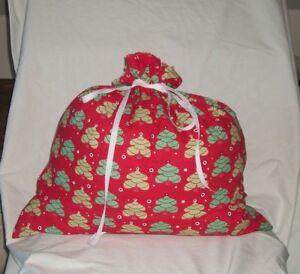 Christmas Trees on Red Design Homemade Fabric Gift Bag