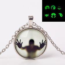 GLOW IN THE DARK GHOST SHADOW PENDANT NECKLACE / Jewellery Gift Idea Luminous
