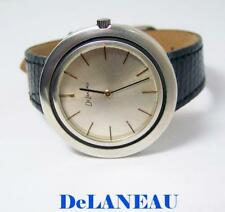 Solid Sterling Silver DeLANEAU Unisex Winding Watch c.1980s* EXLNT* SERVICED