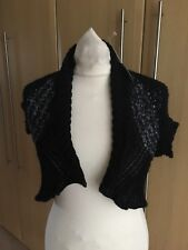 BNWT Lovely M & S,PER UNA Black mix Knit shrug style cardigan size S-£23
