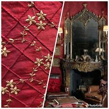 NEW! SALE! 100% Silk Taffeta Embroidered Floral Quilted Motif Fabric - Dark Red