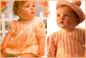 KNITTING PATTERN Baby crossover cardigan wrap ballet top lacy dress DK (317