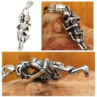 Men Punk Style Tibet Silver Stainless Steel Couple Skull Necklace. Pendant K1L9