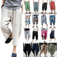 Retro Men Harem Trouser Cotton Linen Pant Baggy Boho Wideleg Hippy Loose Casual