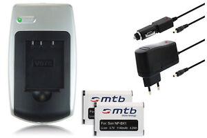 2x Batteria + Caricabatteria NP-BX1 per Sony Cyber-shot DSC-WX350, HX60, HX60V