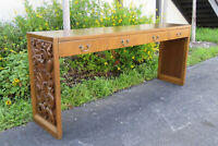 Mid Century Modern Hollywood Regency Heavy Carved Large Console Table 9856