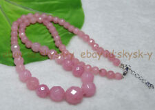 Faceted 6-14mm Exquisite Pink Rhodochrosite Round Bead Gemstone Jewelry Necklace