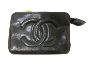 Authentic CHANEL Pouch Lamb Skin Leather Black Box 94974 B