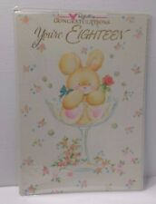 Vintage 18th Birthday Greeting Card Bunny Wine Glass Reflections Unused